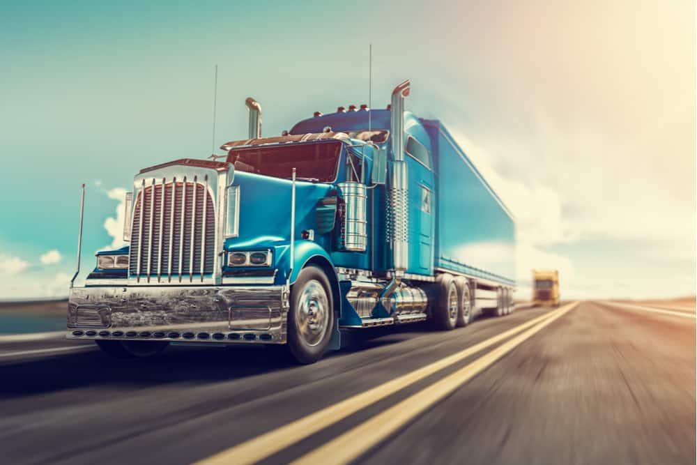 A blue semi-truck